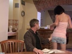 Husband friend bangs his young wife