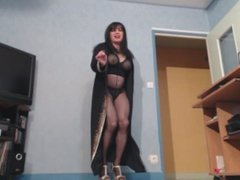 cougar sexy en collant noir