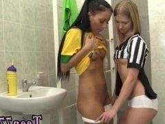 Cute busty blonde teen and teen regina Brazilian player humping the