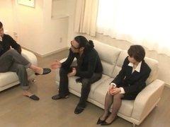 Naughty office threesome along Akina Hara