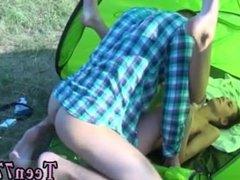Teen girlfriend fuck Eveline getting boned on camping site
