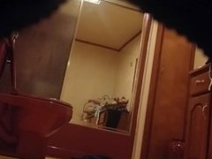 My hot booty Mom secretly filmed in our bathroom