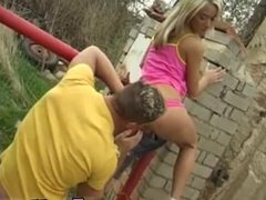 Outdoor doggystyle full length Josje fuckin' her lover outdoors
