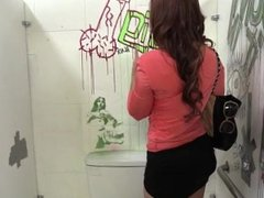 Janet Mason playing with a BBC at the gloryhole