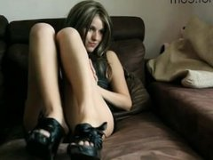 Sexy girl farting on sofa