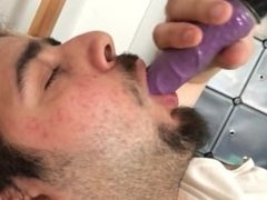 Fat Slut Gets His Mouth Fucked By A Dildo