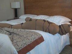Encased in pantyhose bondage