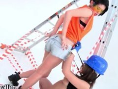 Slutty lesbians fill up their big arses with milk and squirt it out