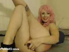 Cute Pink Haired Girl Talks to her Fans while she Fucks Herself