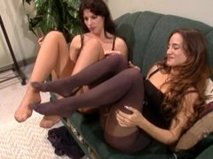 lesbians playing in pantyhose