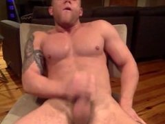 Sexy Muscle College Stud Strokes His Throbbing Cock and Tastes His Cum