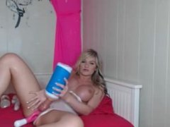 Busty blonde shemale plays with her toys