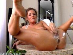 Sheena Shaw butter inside pussy anal dildo