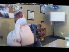 Big Tits Tattooed Redhead BBW Rides Dildo