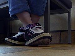 Public shoeplay in Vans sneakers Full
