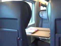 Amateur public blowjob in a train