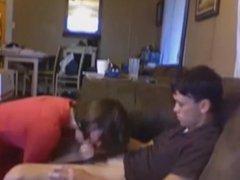 Teen couple on the sofa - CFNM