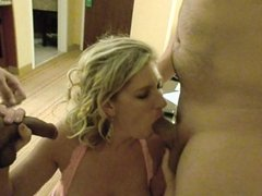 My wife sucking off me and two guys we met online.