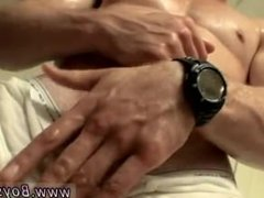 First time finger in butt gay Elijah lubricates up his muscles and abs,