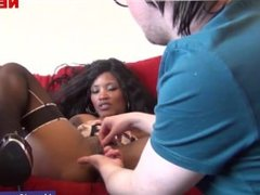 A black pierced girl gets undressed