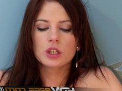 Brunette Babe Leony April Hammered By Boyfriend