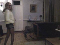 SISSI TV TS CD TRAVESTI PANTYHOSE COLLANT SMOKING DANCING