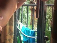 Banged on hotel balcony
