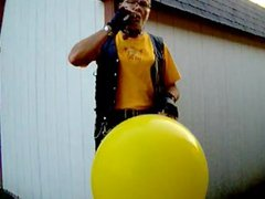 leatherbiker bitch yellow balloon