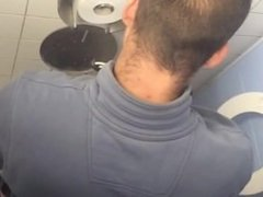 Spy on big dick hot construction worker jerking off in stall