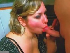 girlfriend plays with cum in mouth
