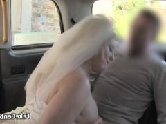 Taxi driver fucks runaway bride on backseat