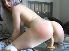 Cute Silver Haired Cam Girl Rides Dildo