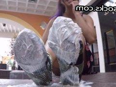 sock fetish latina gets messy in public
