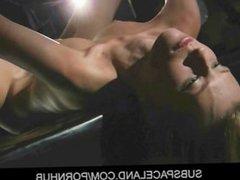 Virgin slave bondage initiation with suspension cuffs fuck