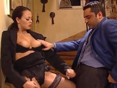 Jizz on face and then on stockings