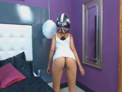 camgirl motorcycle helmet dance