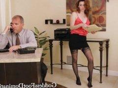 Goddess nylon feet for a boss