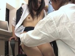 Hot young secretary gets her pussy played with