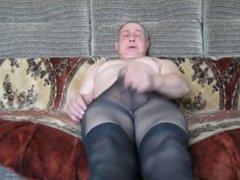 Beneath his penis in tights!