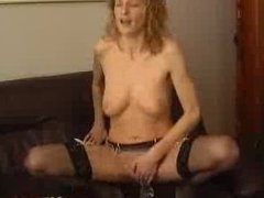 Sexy Busty Blonde Mature With Stockings Rides Dildo