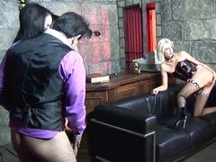 Horny girls sit their asses on huge peckers in an arousing group sex