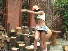 Shaving bush Cutting wood and slurping pussy