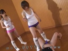 Japanese femdom are trample and kick the penis of slaves.