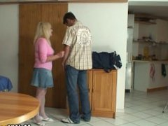 Blonde mother-in-law rides his huge dick