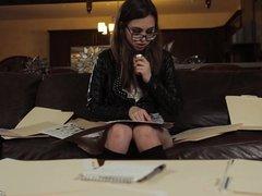 Riley Reid reading a secret diary