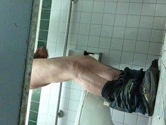 Caught dude jerking off in men's room stall (part 1)