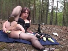 In the woods naked shemale , playing with perverted anal .