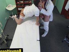 Uniform nurse blowing doctors cock