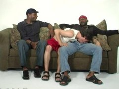 Lusty amateur white guy getting shared by black thugs