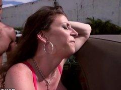 Big ass Sara Jay takes black cock after car wash
